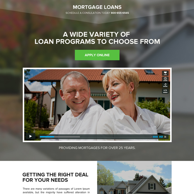 mortgage against property responsive video landing page Mortgage example