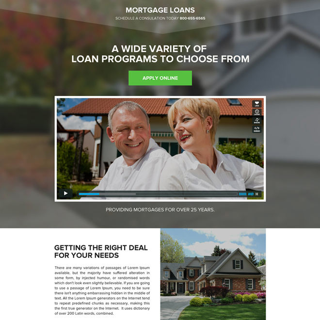 mortgage loan against property video landing page Mortgage example