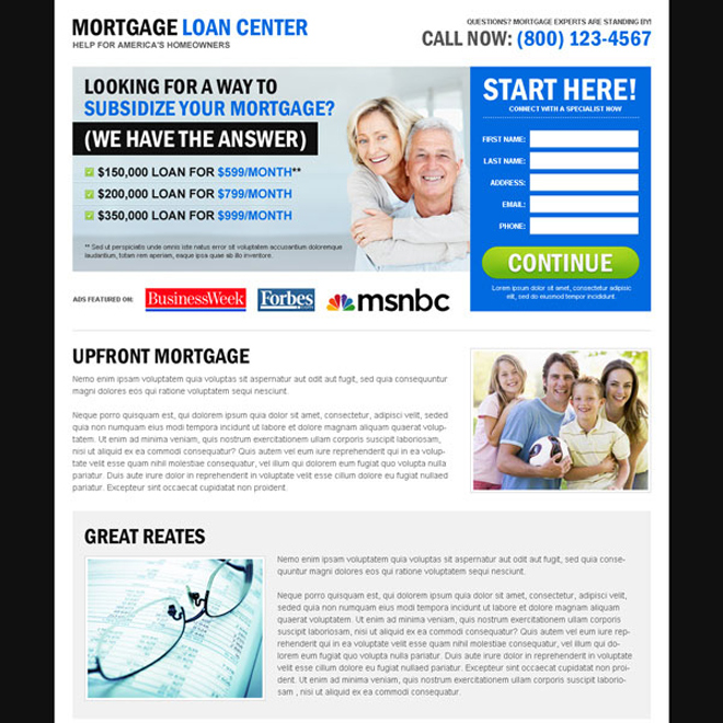 mortgage loan center effective and user friendly lead capture landing page design Mortgage example