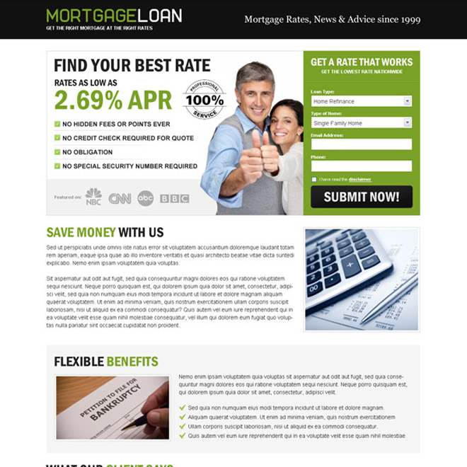 mortgage loan best rate lead capture eye catching landing page design Mortgage example