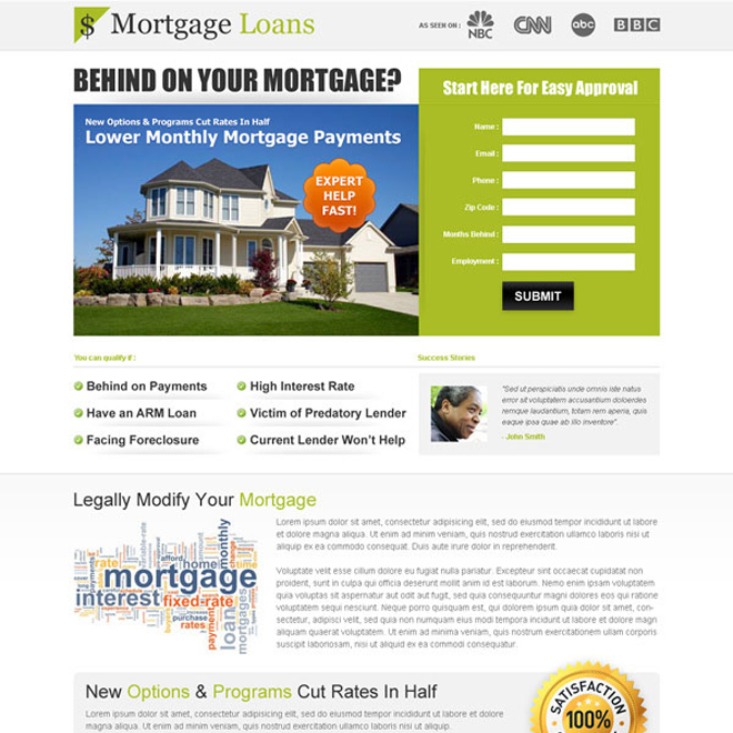 clean and effective mortgage lead capture squeeze page design Mortgage example