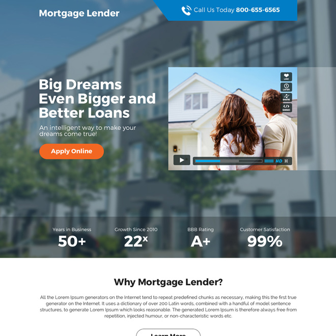 mortgage loan responsive video landing page design Mortgage example