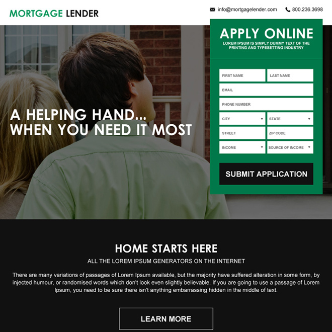 mortgage payment calculator lead capturing responsive landing page Mortgage example