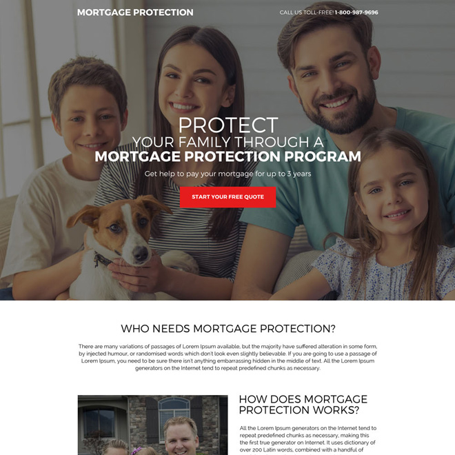 mortgage protection program quote capturing landing page design Mortgage example