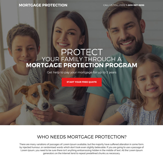mortgage protection program responsive landing page Mortgage example