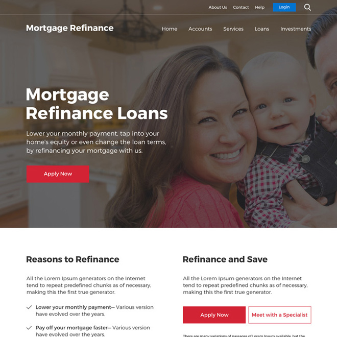 mortgage refinance loan professional website design Mortgage example