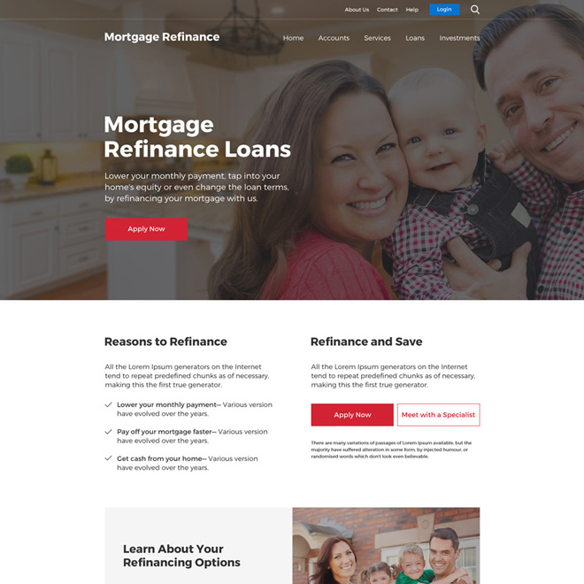 mortgage refinance loans responsive website design Mortgage example
