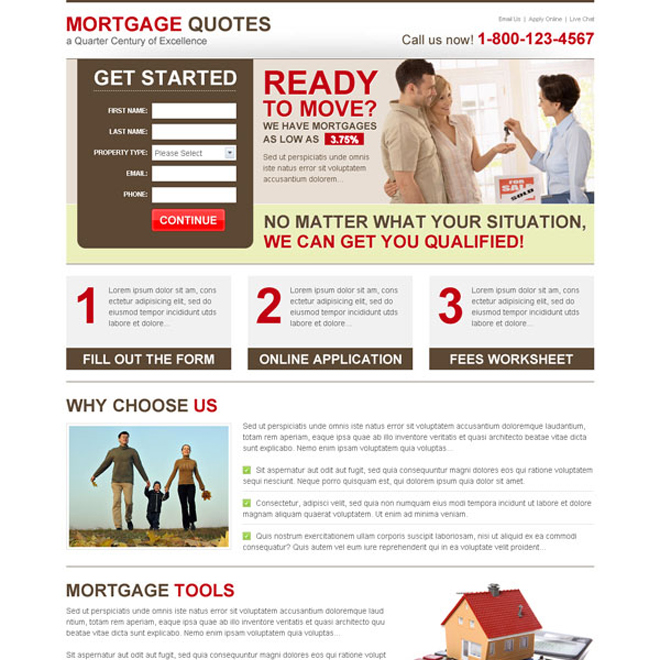 mortgage quotes amazing lead capture informative landing page Mortgage example