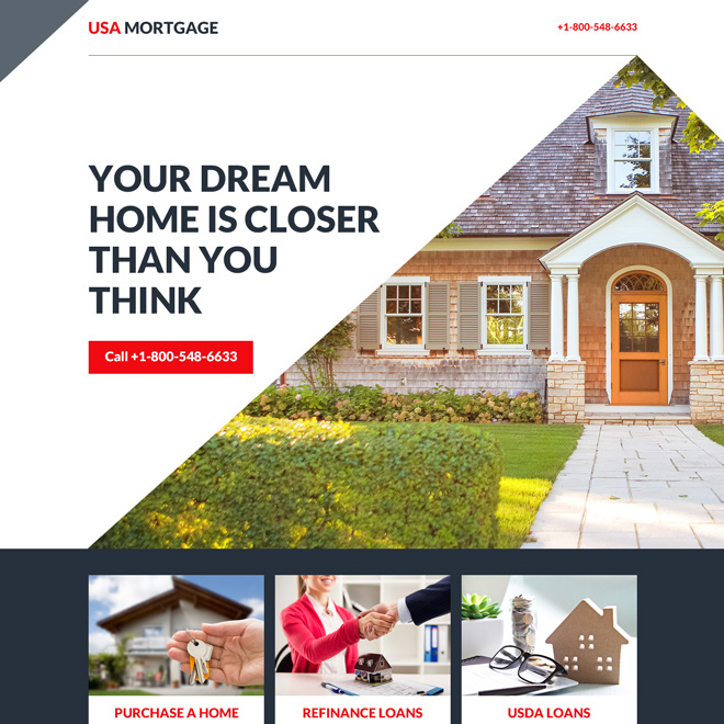 mortgage services click to call landing page Mortgage example