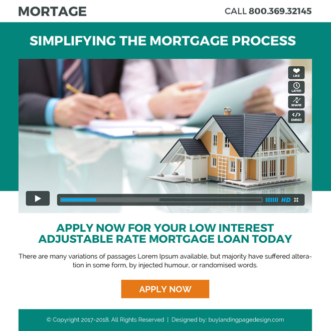 mortgage ppv landing page design with video Mortgage example