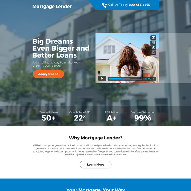 mortgage lender premium landing page design mortgage example