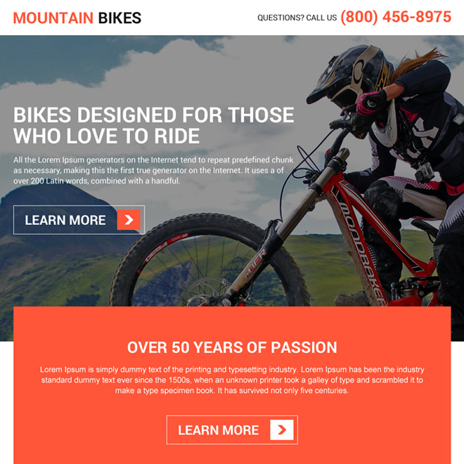 responsive mountain bikes lead boosting landing page design Sports example
