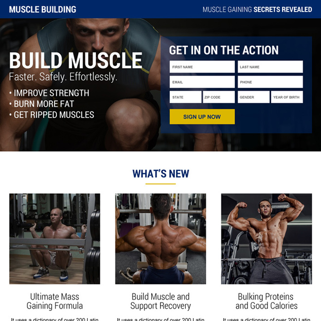 muscle building secret sign up lead capturing landing page Bodybuilding example