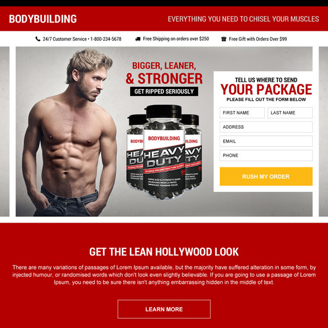 muscle building supplement package landing page design Bodybuilding example