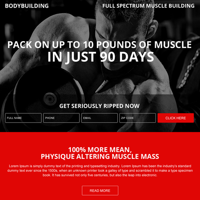 muscle building lead capturing modern landing page design Bodybuilding example