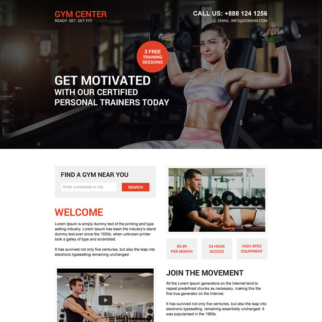 muscle building workout responsive landing page design Health and Fitness example