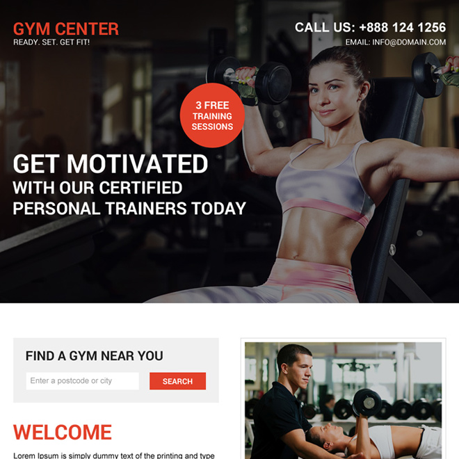 certified gym training lead generating landing page Health and Fitness example