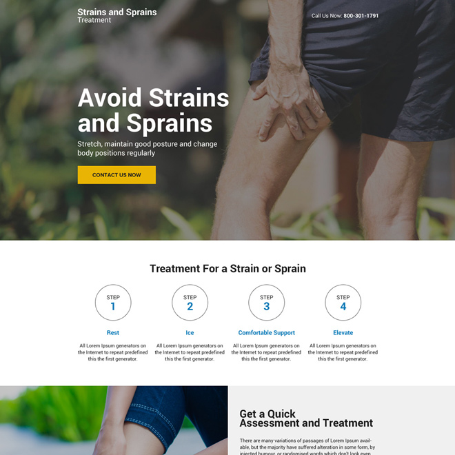 muscle strain and sprain treatment mini responsive landing page Pain Relief example