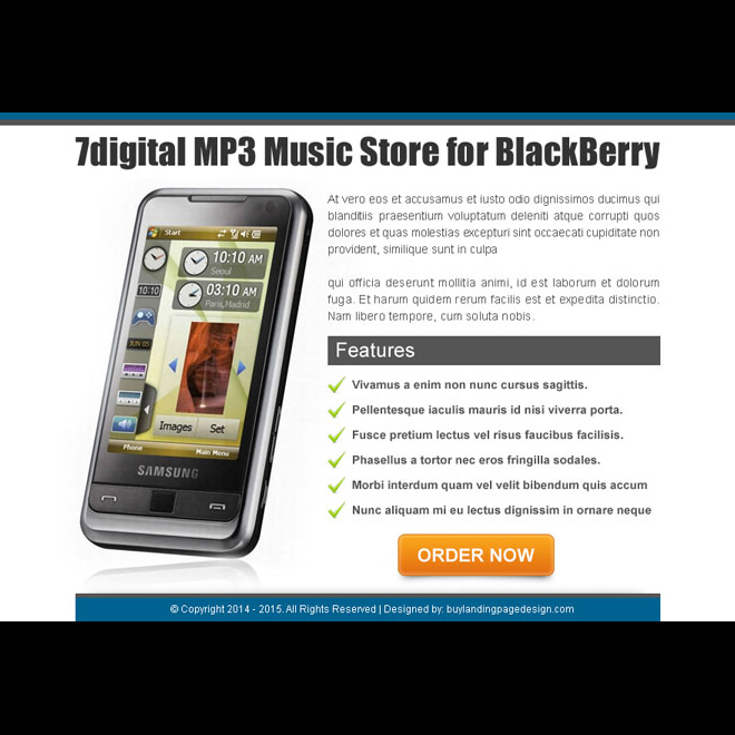 mps music store for blackberry high converting ppv landing page design Electronics example