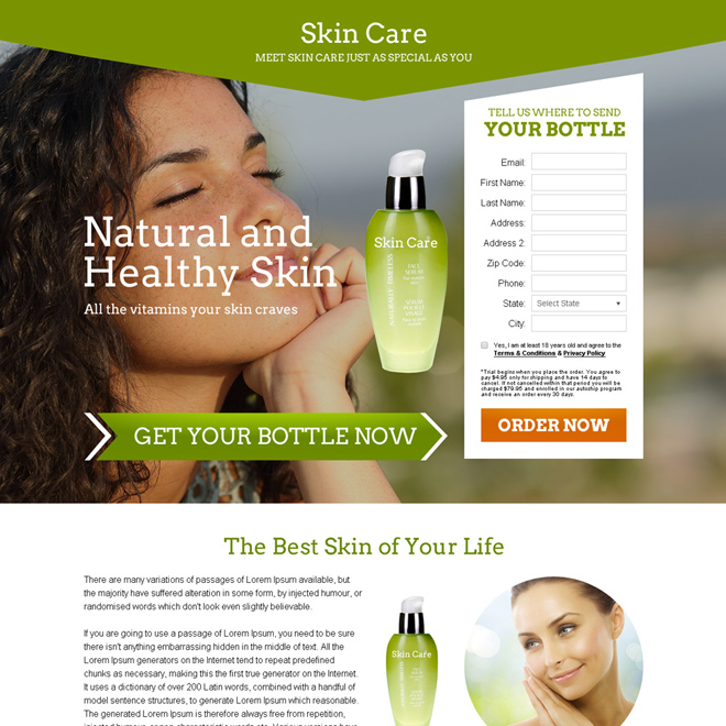 skin care product selling bank page design Bank Page example