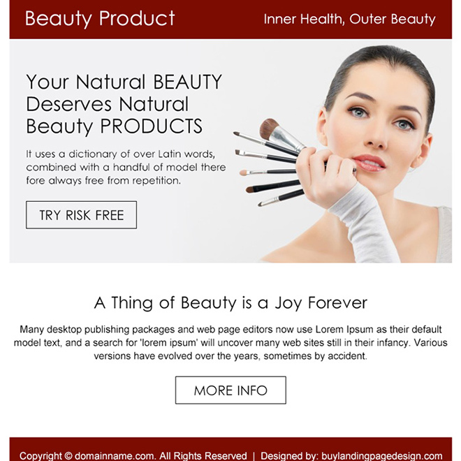 natural beauty product risk free trial PPV design Beauty Product example
