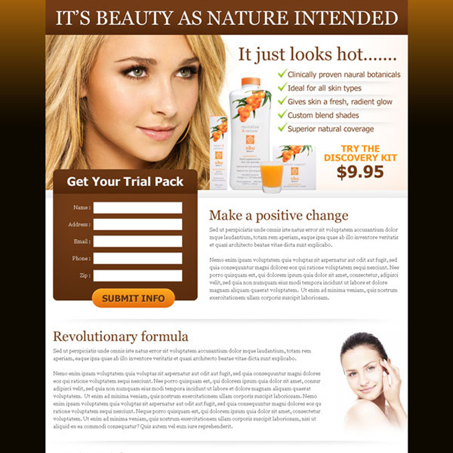 natural beauty product lead capture page design Beauty Product example
