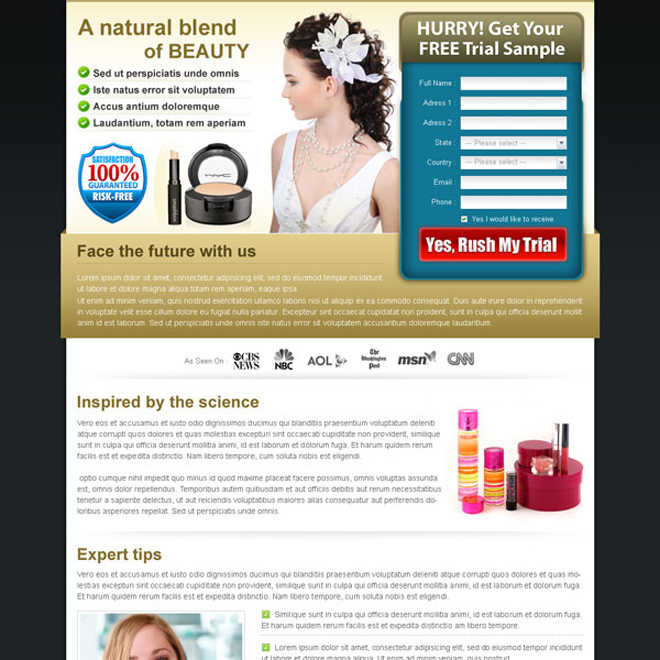 beauty product lead capturing form landing page Beauty Product example