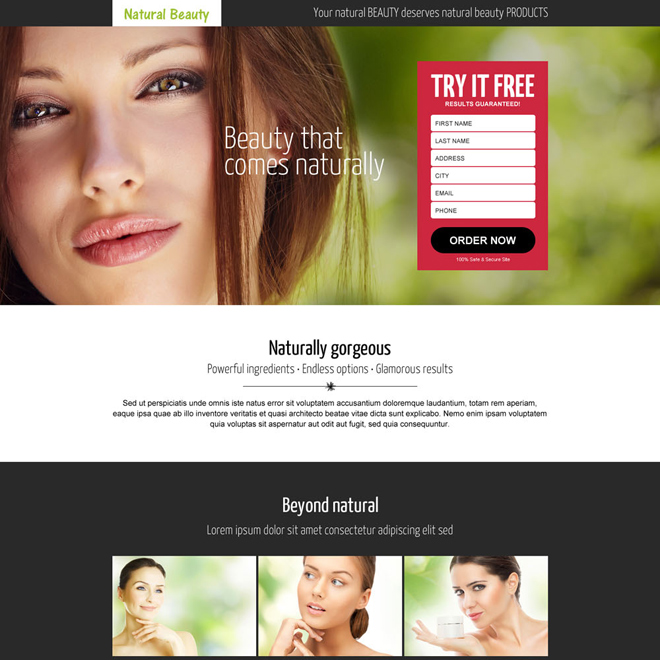 natural beauty product lead generating landing page design template Beauty Product example