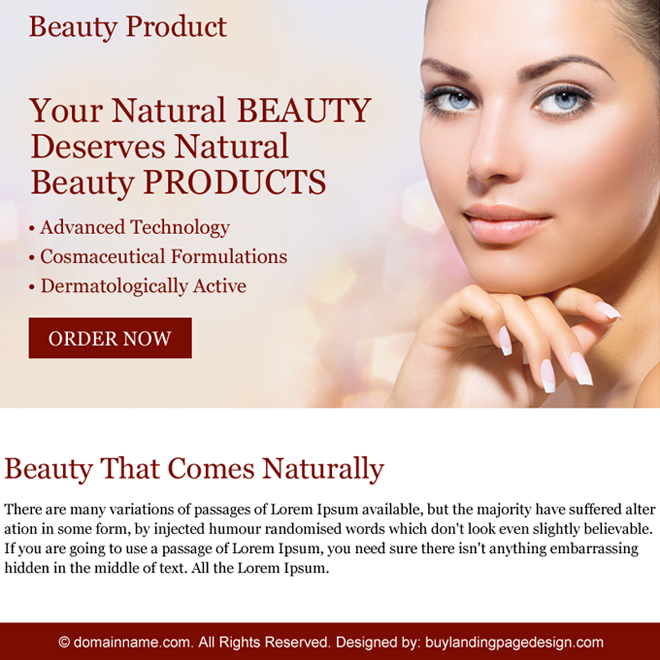 natural beauty product ppv landing page design Beauty Product example