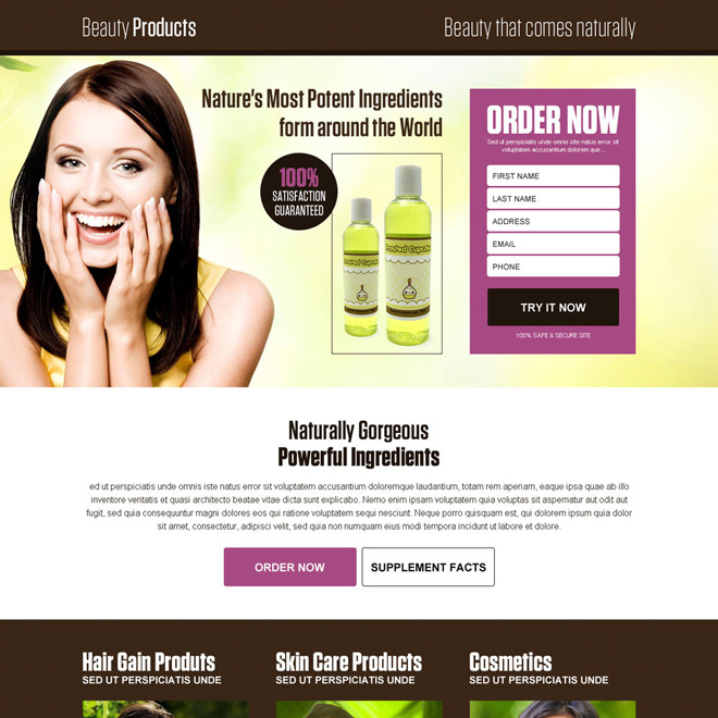 natural beauty product selling lead generating landing page Beauty Product example