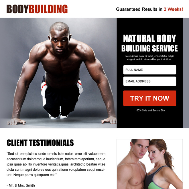 natural body building free trial ppv landing page design Bodybuilding example
