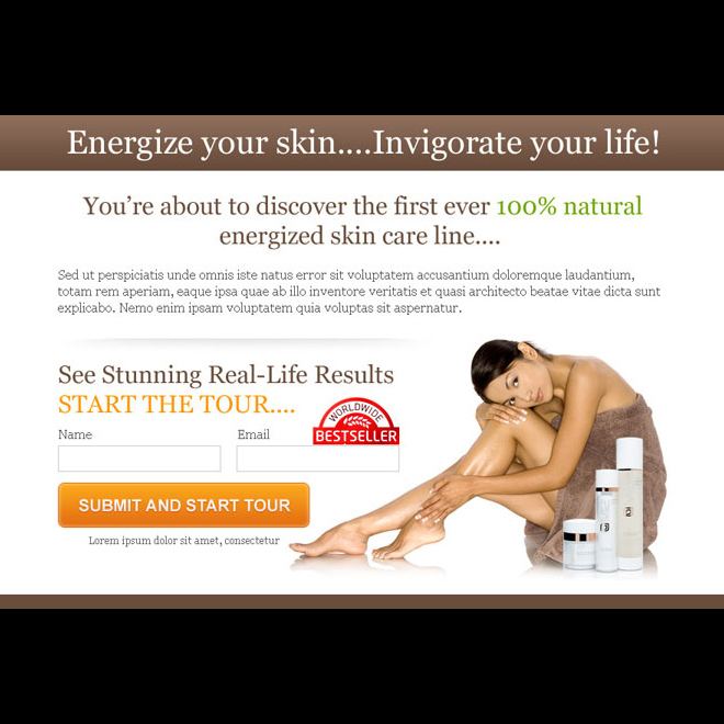 energize your skin lead capture ppv landing page design Skin Care example