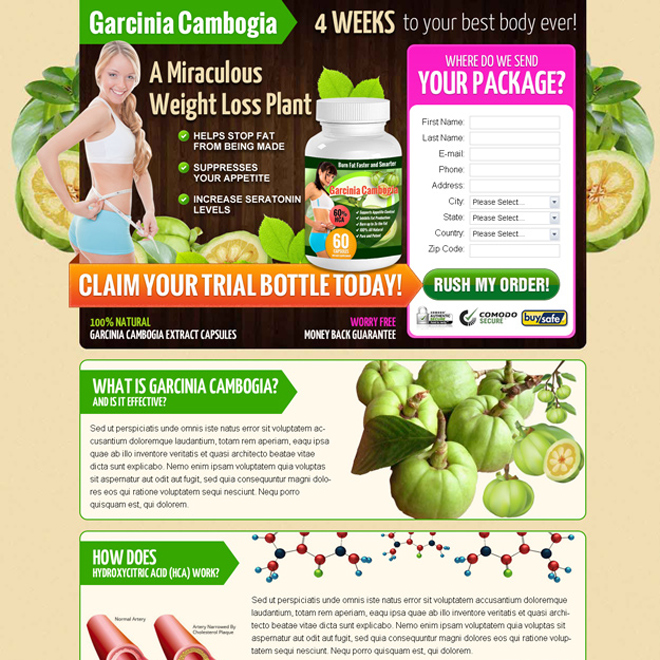 natural garcinia cambogia lead generation landing page design templates to boost sales your product online Garcinia Cambogia example