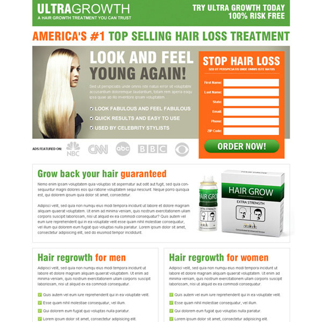 top selling hair loss treatment order now lead capture landing page Hair Loss example