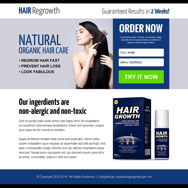 natural hair growth product ppv landing page design Hair Loss example