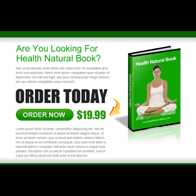 order health natural ebook ppv landing page design template E Book example