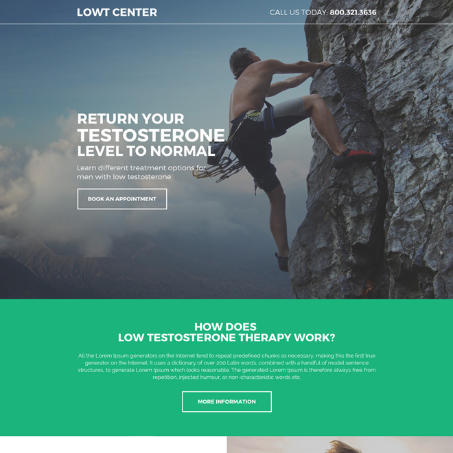 natural low testosterone responsive lead capturing landing page Low Testosterone example