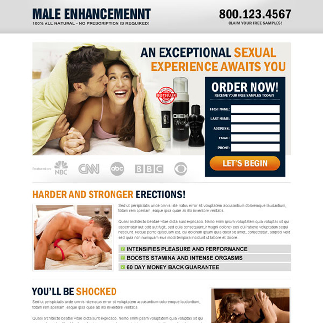 natural male enhancement product lead capture landing page design templates Male Enhancement example