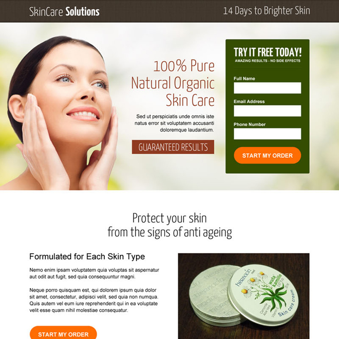 natural organic skin care leads responsive landing page design Skin Care example