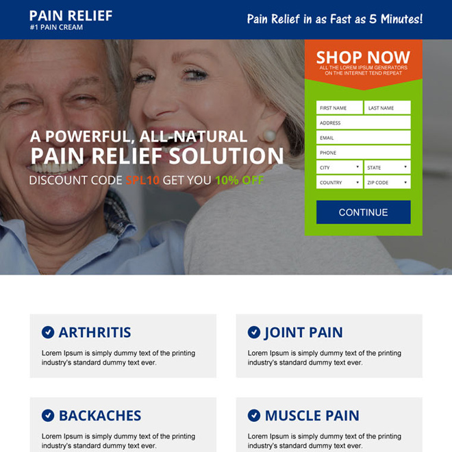 natural pain relief cream lead capturing landing page design Pain Relief example