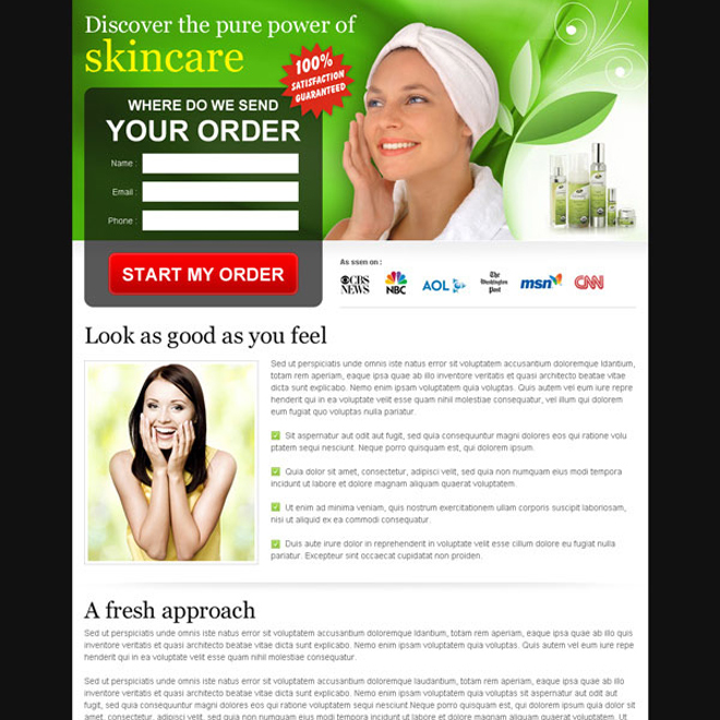 natural skin care product order now lead capture form landing page design Skin Care example