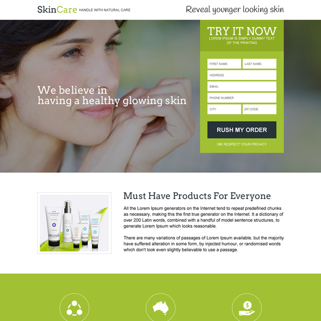 skin care product trial responsive landing page design Skin Care example
