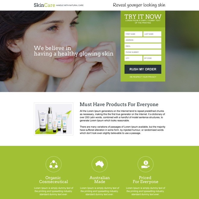 natural skin care trial offer selling landing page design Skin Care example