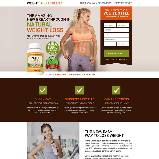 natural calorie burner product selling modern landing page design Weight Loss example