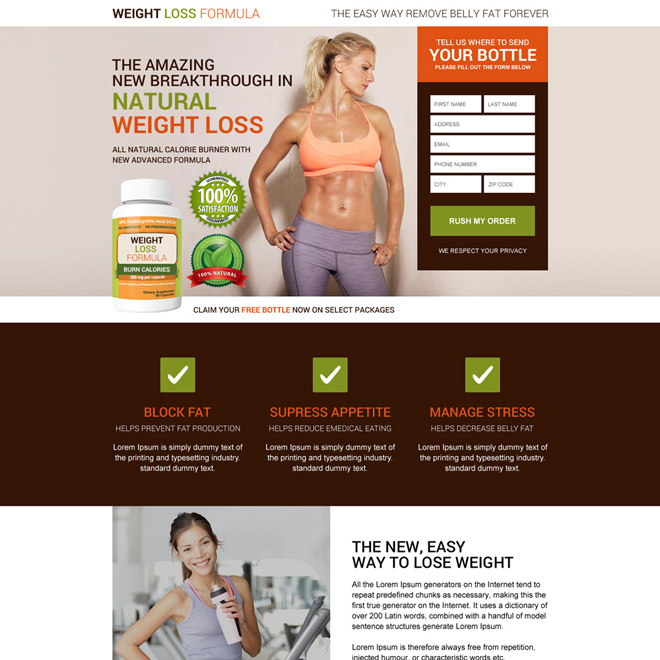 natural weight loss formula selling responsive landing page design Weight Loss example