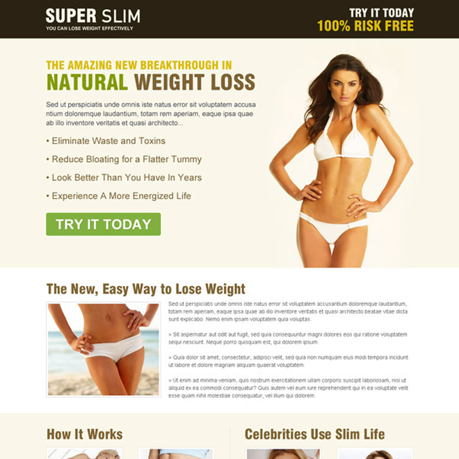 super slim natural weight loss responsive squeeze page design Weight Loss example