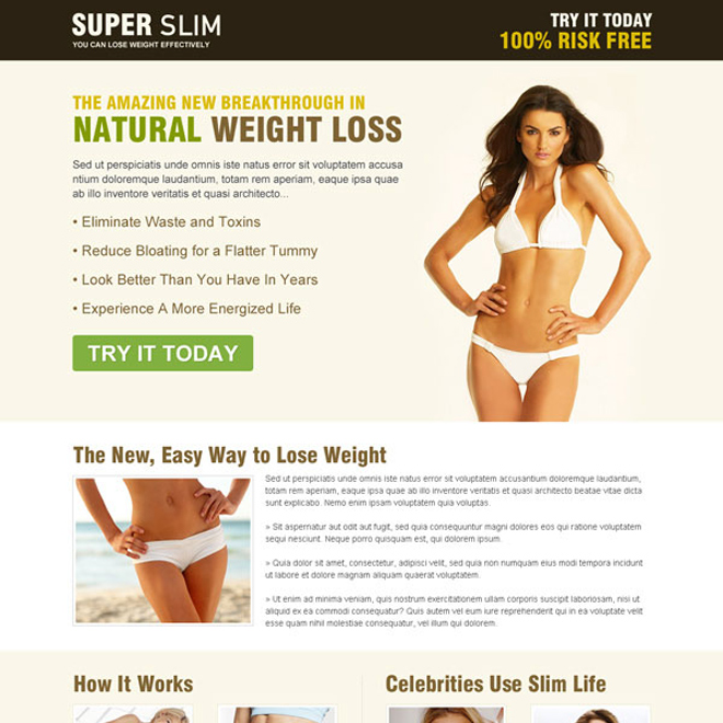 super slim natural weight loss call to action landing page to maximize your revenue Weight Loss example