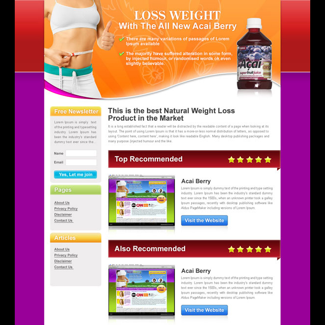 lose weight with the all new acai berry review type landing page design Landing Page Design example