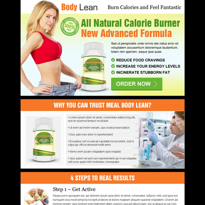 all natural calorie burner new advance formula product selling landing page design Weight Loss example