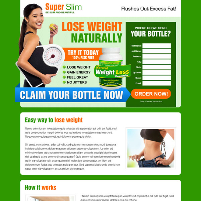converting natural weight loss formula product selling landing page